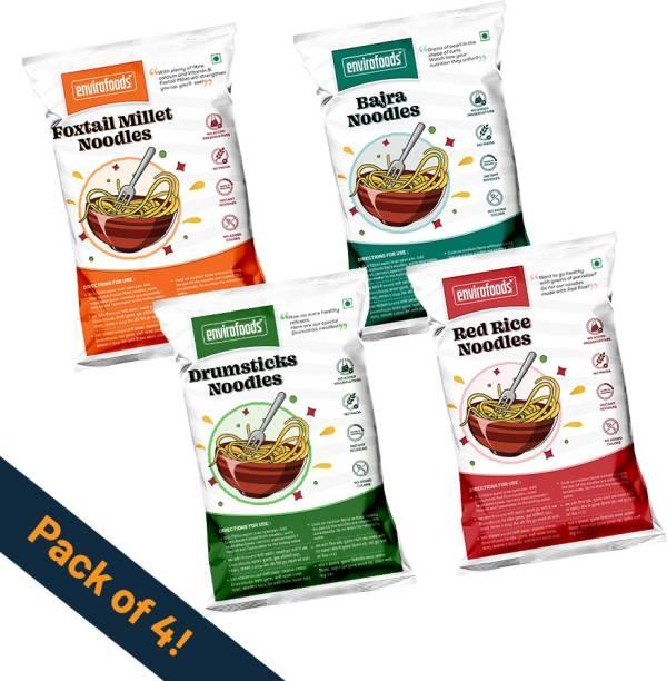 envirofoods Instant Noodles Pack of 4(Red Rice, Bajra, Drumsticks, Foxtail Millet) Instant Noodles Vegetarian