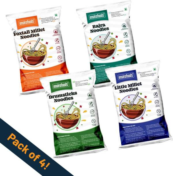 envirofoods Instant Noodles Pack of 4(Bajra, Drumsticks, Foxtail Millet, Little Millet) Instant Noodles Vegetarian