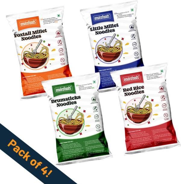 envirofoods Instant Noodles Pack of 4(Red Rice, Drumsticks, Foxtail Millet, Little Millet) Instant Noodles Vegetarian