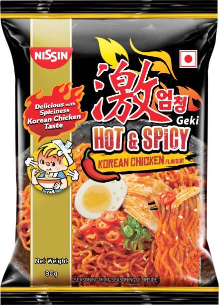 Nissin Geki Geki Hot and Spicy Korean Chicken Flavour Instant Noodles Non-vegetarian