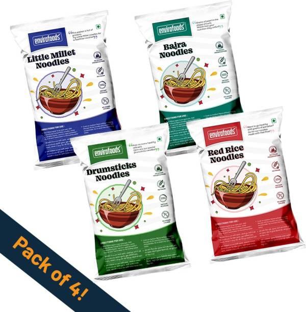envirofoods Instant Noodles Pack of 4(Red Rice, Bajra, Drumsticks, Little Millet) Instant Noodles Vegetarian
