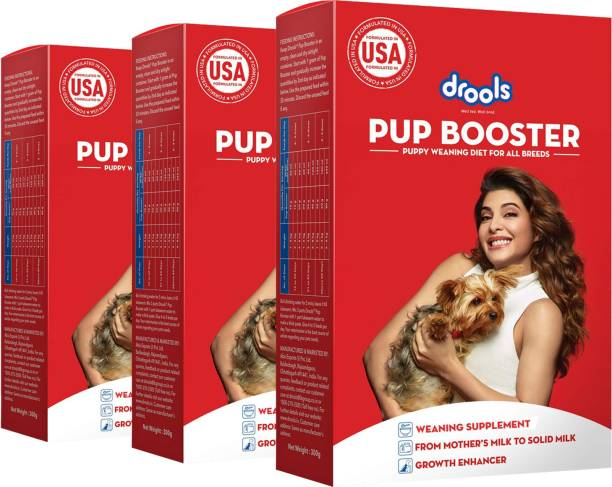 drools Pup Booster - Puppy Weaning Diet for All Breeds, 300g - Pack of 3 (900g) Chicken 0.9 kg (3x0.3 kg) Dry Young Dog Food