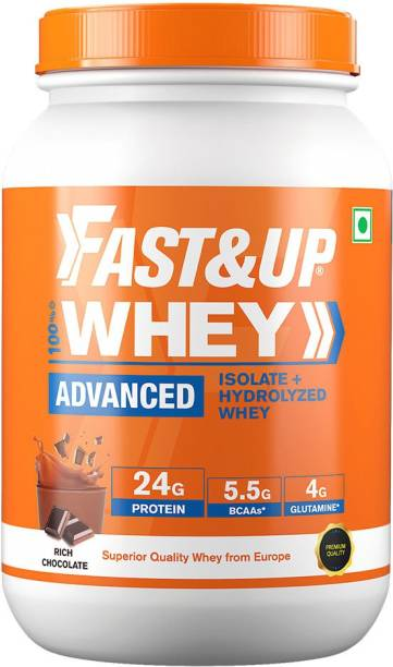 Fast&Up 100% Blend Whey Protein Isolate & Hydrolyzed- 24g Protein,5.5g BCAA,4g Glutamine Whey Protein