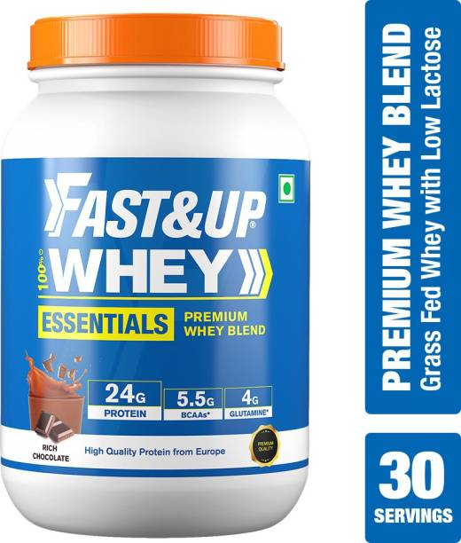 Fast&Up 100% Isolate & Concentrate Blend Whey Protein- 24g Protein,5.5g BCAA,4g Glutamine Whey Protein