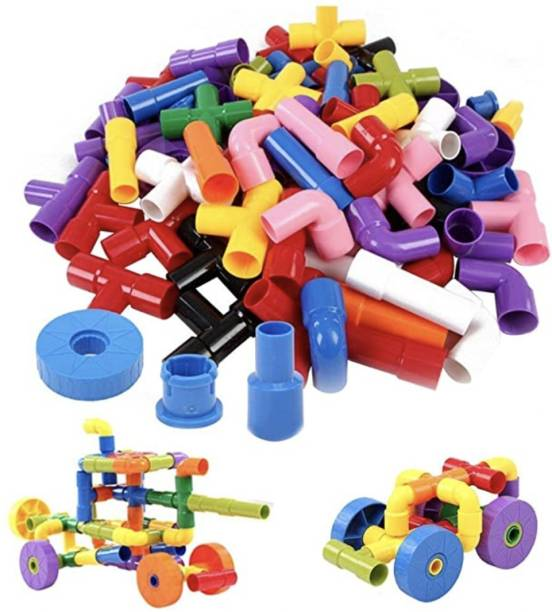 J K INTERNATIONAL Made in India Multi Coloured Educational Play and Learn Plastic Building Block Set Pipes Puzzle Set - Blocks for Kids ( 85 Pieces ) - Blocks Toys and Games for Kids