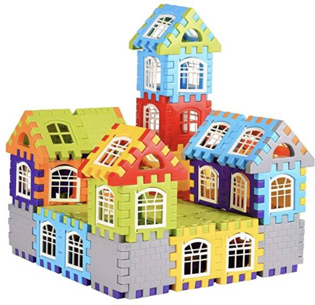 kipa Made in India Multi Colored 72 Pcs + 30 Windows Mega Jumbo Happy Home House Building Block with Attractive Windows and Smooth Rounded Edges Blocks Game Fun