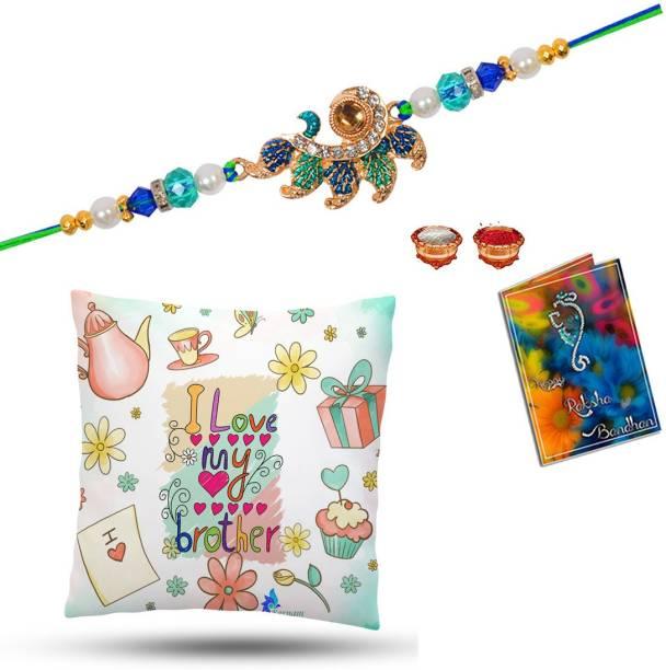 Elegaci Gifts Rakhi, Greeting Card, Cushion, Chawal Roli Pack  Set