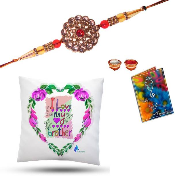 Elegaci Gifts Rakhi, Greeting Card, Chawal Roli Pack  Set