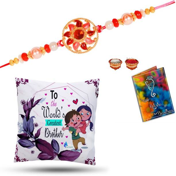Elegaci Gifts Rakhi, Greeting Card, Cushion Cover, Chawal Roli Pack  Set