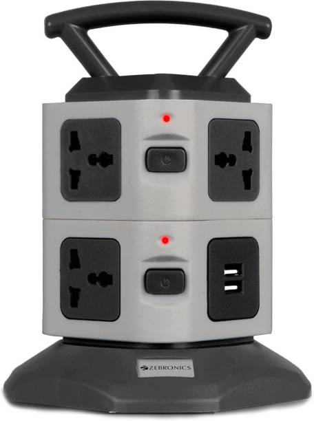 ZEBRONICS Zeb-TS3120USB Power strip with 7 Universal Socket, 2 USB Ports and 2.8 m Long Cable 7  Socket Extension Boards