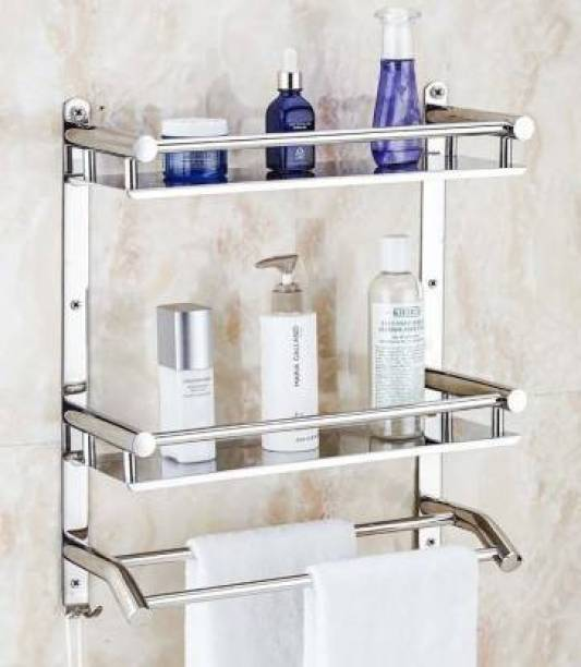 CSI INTERNATIONAL Premium Towel rack Abs Stainless Steel Bathroom Accessories and Folding Towel Rack/Towel Hanger/Towel Stand/Holder Silver Towel Holder (Stainless Steel) 16 inch 1 Bar Towel Rod