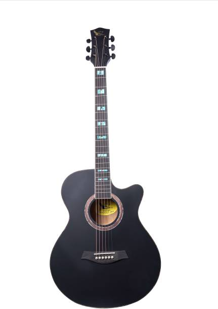 swan7 40C Semi-Acoustic Guitar -Black Matt Maven Series with Equalizer Acoustic Guitar Spruce Rosewood Right Hand Orientation