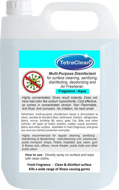 TetraClean Disinfectant For Hospital, Home & Office   Germ Protection Disinfectant Cleaner for Hard & Soft Surfaces   Use It as Surface Disinfectant / Multi-Purpose Disinfectant - Aqua Fragrance (5L)