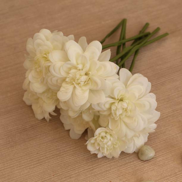TIED RIBBONS Artificial Flower Bunch for Vase Pot Home Decor Living Room Party Decorations White Wild Flower Artificial Flower