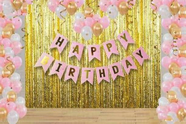 MITYA Solid Girl birthday combo 1 Pink Happy Birthday Banner+2 Pc Gold Fringe Curtain+30 Pcs Mettalic Balloon for Kids Girls Boys Women Birthday, Baby Shower, Princess, 1st, 2nd Years Decorations Combo Kit Exclusive Packet Letter Balloon (Pink, Gold, White, Pack of 1) Balloon