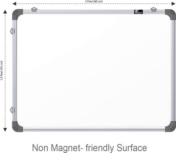 Foxit Non-Magnetic 1.5X2 Feet Double Sided Both Side Writing one Side White Marker and Reverse Side Chalk Board Surface (Pack of 1, Size 1.5feet x 2feet, White & Green) White board