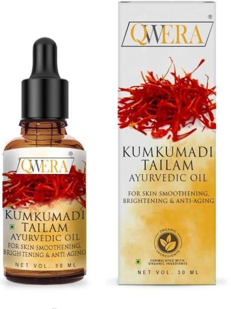 Qwera Kumkumadi Face Glowing Oil for Natural Glowing Beauty, Original 24k Gold Dust Kumkumadi Oil for Glowing Skin