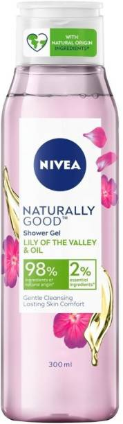 NIVEA Naturally Good Shower Gel, Lily of the Valley & Oil, No Parabens, Vegan Formula with 98% Ingredients of Natural Origin, 300 ml