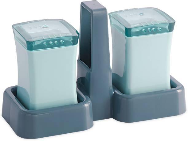 aaKaR - SWAAD Salt & Pepper Jar with Stand (Blue) - Plastic - 2 Piece Salt & Pepper Set