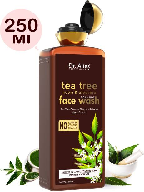 Dr. Alies Professional Anti-Acne Tea tree, Neem & Aloe vera Foaming  - Helps Fight Acne, Cleanses Dirt And Dullness - Infused With Olive Leaf Extract And Aloe Vera Face Wash