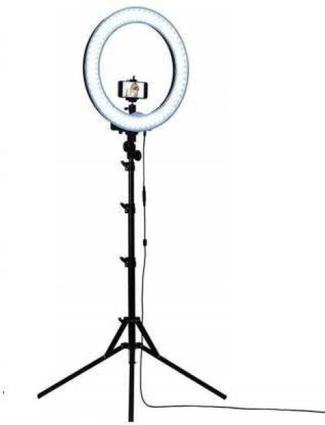 MIHIR 10 Inches Big LED Selfie Ring Light for Smartphone to Capture Your Photo and Video at Tiktok, Musically and Other App with long 6.5 feet extendable Stand Ring Flash (Black, Silver) Ring Flash