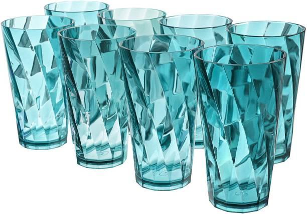 Sedulous (Pack of 8) TWISTER Shape Unbreakable Plastic Glasses Glass Set