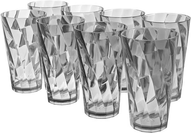 Sedulous (Pack of 8) TWISTER Shape Unbreakable Plastic Glasses Grey Glass Set