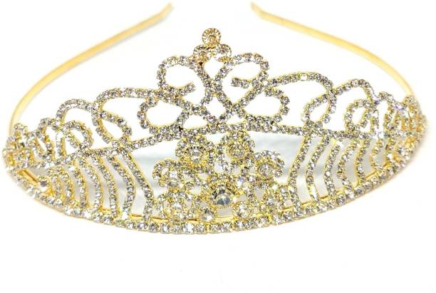 Bunty Gold Pageant Prom Crystal Crown Tiara for Girls (Gold) Hair Band