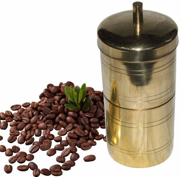 VAMSY Traditional Filter Coffee Maker, Brass, South Indian Drip Sytle Decoction Liquid Maker, Coffee Filter Vessel, Utensil, Kumbakonam Degree Coffee Filter for Home Use Size 2, 250Ml , Ideal for 3 to 4 cups coffee Indian Coffee Filter