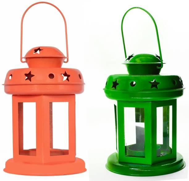 Designer International TABLE LANTERN Orange, Green Iron Hanging Lantern