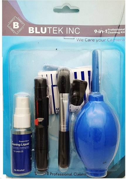 blutek 9 in 1 Professional Cleaning kit (Air Blower,Brush,Lenspen,cleaning cloth,cotton bud,Tissue,Cleaning Solution,Wet wipes,Dry wipes) For Canon Sony Nikon Fujifilm  Lens Cleaner