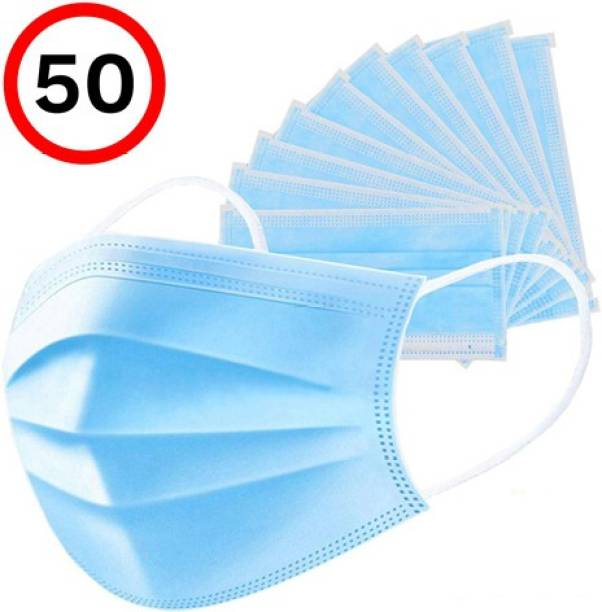 LYRISS 50 Units Disposable 3 Ply Pharmaceutical Breathable Pollution Face Mask Respirator with 3 Layer Surgical For Men Women Kids Surgical Mask 3 Ply (50 Piece) Surgical Mask (Blue, Free Size, Pack of 50, 3 Ply) (Blue-9, Free Size, Pack of 50, 3 Ply) Surgical Mask