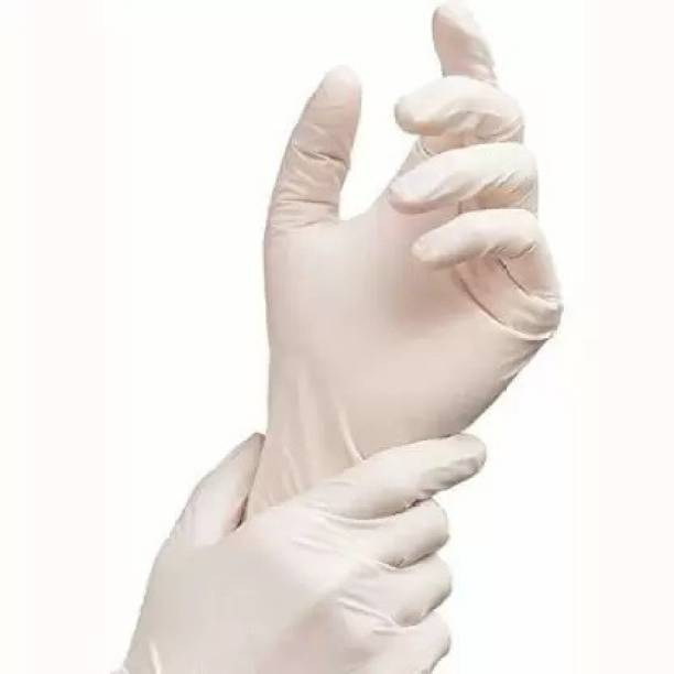 RRHR SALES White Latex Non-Sterile Medical Examination Disposable Hand Gloves ( Waterproof / Washable / Reusable) (10 Gloves) Latex Examination Gloves Latex Examination Gloves