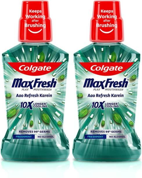 Colgate Maxfresh Plax Antibacterial Mouthwash, 24/7 Fresh Breath - Freshmint