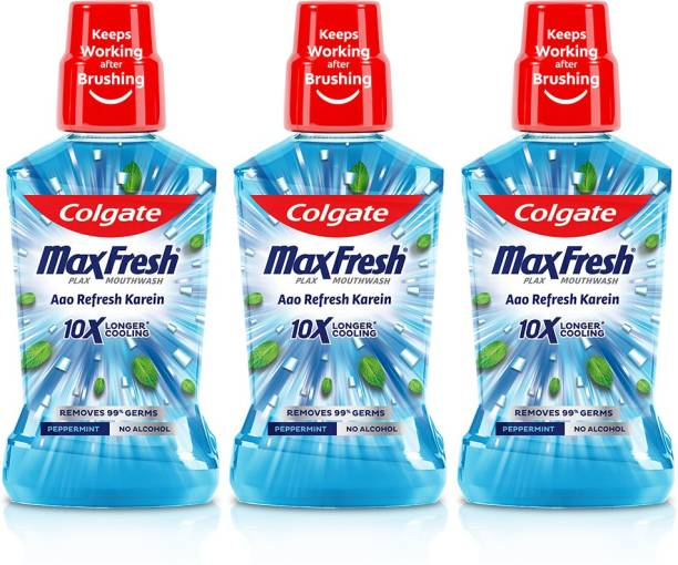 Colgate Maxfresh Plax Antibacterial Mouthwash, 24/7 Fresh Breath - Peppermint