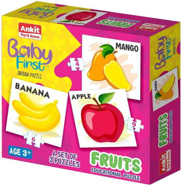 Ankit Baby First 3 Set of Jigsaw Fruits Educational Puzzle Multicolor Set of 3 - 19 Pieces