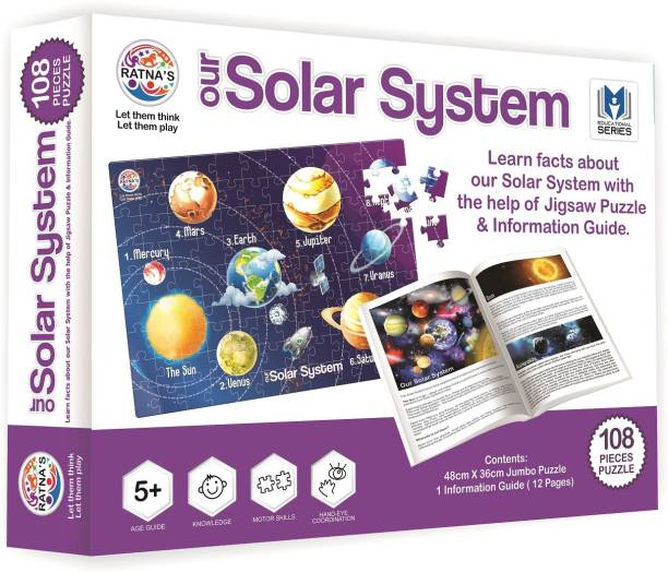 Ratnas EDUCATIONAL JIGSAW PUZZLE FOR KIDS SOLAR SYSTEM 108 JUMBO PIECES WITH A 12 PAGE BOOKLET ABOUT SOLAR AYSTEM