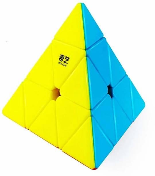 Shriganpati Toys Super Smooth Sticker less Pyramid Speed Triangle Cube Magic Puzzle Cube