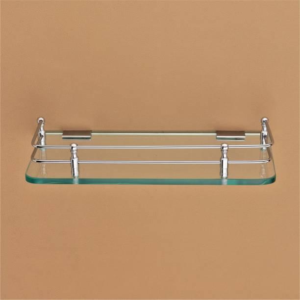 Flipkart SmartBuy Transparent Glass Shelf for Bathroom / Wall Mounted Shelf with Mounting Bracket / Multipurpose Storage Shelf / Kitchen Rack / Bathroom Accessories (12 X 6 inch) Glass, Steel Wall Shelf