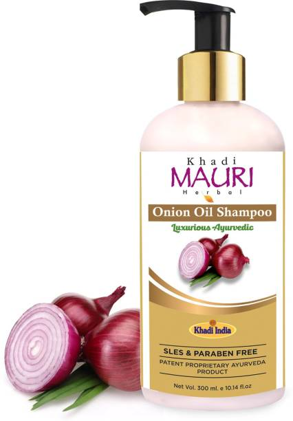Khadi Mauri Herbal Onion Oil Shampoo - Thickens & Strengthens Hair - SLES & PARABEN FREE - Enriched with Amla & Keratin - 300 ml