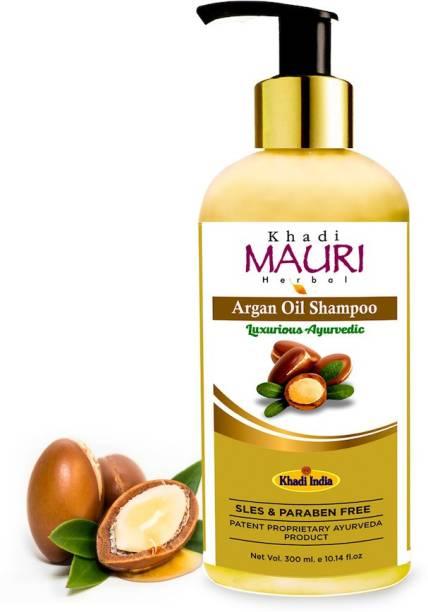 Khadi Mauri Herbal Argan Oil Shampoo - SLES & Paraben Free - Boosts Hair Growth & Thickness - Enriched with Amla, Bhringraj & Aloe Vera, White - 300 ml