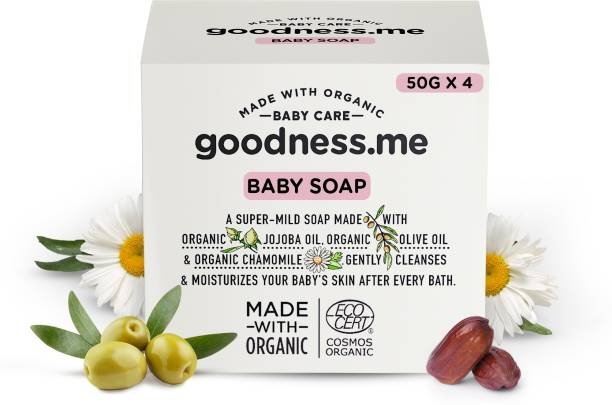 goodnessme Certified Organic Moisturizing Baby Soap for Sensitive Skin, Pack of 4 (50g each), Paediatrician & ECOCERT France Certified, Hypoallergenic