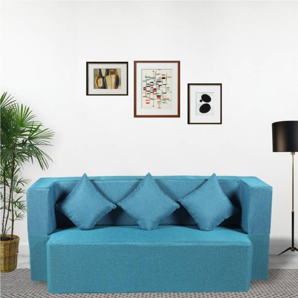 Seventh Heaven 3 Seater Sofa cum Bed - Jute Fabric Washable Cover with 3 Cushions Double Sofa Bed