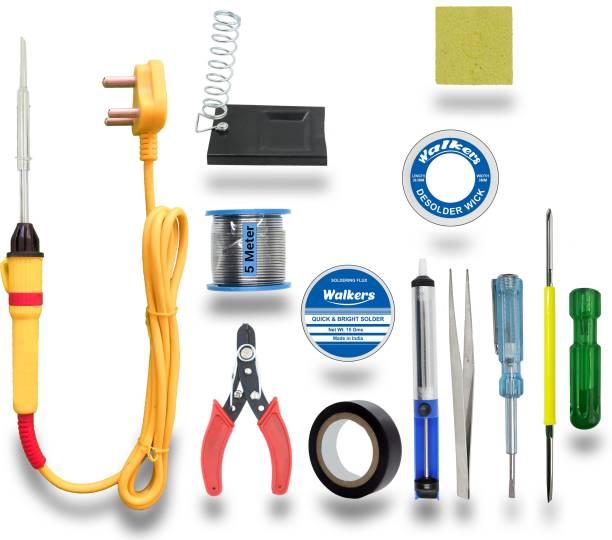 Walkers Basic 12in1 Complete Soldering Iron Machine Tool Kit Set| Wire Cutter | Stand | Solder Wire | Tweezer | Soldering Flux | Desoldering Wick | Tester| Desoldering Pump | Electric Tape | 2in1 Screw Driver | Sponge 25 W Simple