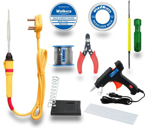 Walkers Basic Bundle Electric 25W Soldering Iron Machine Tool Kit - Set of 9 with Flux Paste and Wire 25 W Simple