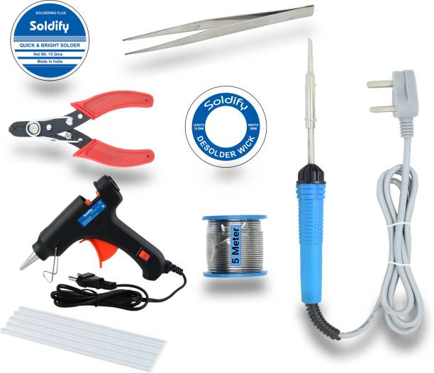 Soldify Basic Bundle Electric 30W Soldering Iron Machine Tool Kit - Set of 8 with Flux Paste and Wire 30 W Simple