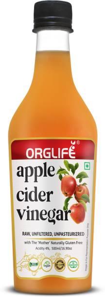 ORGLIFE Apple Cider Vinegar (ACV) with Probiotic Mother   Raw, Unfiltered, Unpasteurized - 500ml Vinegar