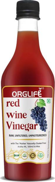 ORGLIFE Red Wine Vinegar Organic with Mother 500 ml - Raw, Unfiltered -Balsamic Vinegar (Made with Red Grapes) Vinegar