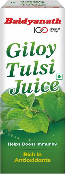 Baidyanath Giloy Tulsi Juice - Boosts Immunity and Digestion   Natural source of Antioxidants for Detoxification, for Liver and Skin Health   No Added Sugar, Colour or Flavour  