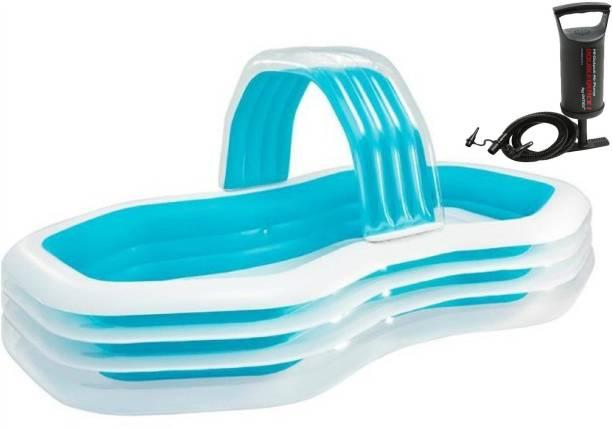 TUSHIKA INFLATABLE ZIG ZAG FAMILY LOUNGE CABANA WITH SPRAY SWIM POOL BATH TUB WITH PUMP FOR KIDS AND BABY Inflatable Swimming Pool